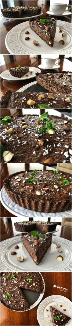 FIT TARTA Z CZEKOLADOWYM MUSEM CHIA Spring Shirts, Chia Pudding, Meal Prep, Food And Drink, Chocolate, Baking, Healthy, Recipes, Vegan Cheesecake