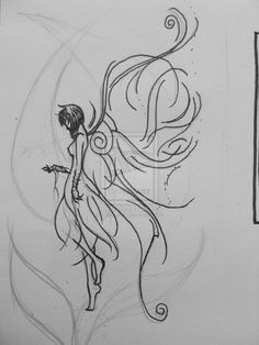 Fairy tatoo by Fluffyana on DeviantArt Fairy Drawings, Pencil Drawings, Elfen Tattoo, Body Art Tattoos, Tatoos, Foot Tattoos, Flower Tattoos, Sleeve Tattoos, Fairy Sketch