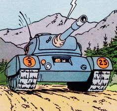 El asunto Tornasol - Tanque de Borduria---How on earth can he drive a tank??? He can drive cars, motorcycle, bike, plane, helicopter and all kinds of ships but A TANK??? How on earth? HOW?