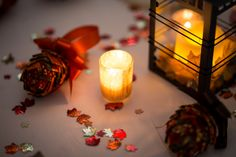 Fall wedding centerpiece - lanterns with fall leaves