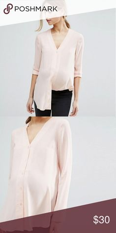 ASOS Maternity V Neck Blouse in Blush - NWOT ASOS Maternity V Neck Blouse US 2 Colour Blush PRODUCT DETAILS Maternity top by ASOS Maternity Soft-touch woven fabric V-neck Button placket Long sleeves Regular fit - true to size Designed to fit through all stages of pregnancy Machine wash 100% Polyester ASOS Maternity Tops Blouses