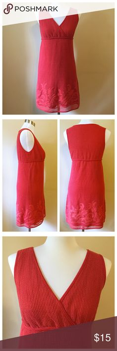 """Max Studio Crochet Dress --- size Small Max Studio Crochet Dress --- size Small --- fully lined --- Shell is 100% cotton --- lining is 65% polyester 35% rayon --- floral appliqué detail at the bottom of shell --- faux wrap bodice --- 15.5"""" bust --- 35"""" length --- good preloved condition --- no rips stains or tears --- thank you for visiting my boutique, please feel free to ask any questions ☀️ Max Studio Dresses"""