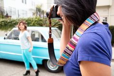 Just in time for spring break, we found the coolest, most colorful (and comfortable) camera strap!  The Spring Break Camera Strap not only goes with your outfit and/or scooter, but it has quick-release buckles and a comfy neoprene lining. ($26)