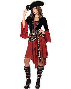 Pizzo Adulto Pirata Benda sull/'Occhio Alto Mare Nero /& Rosso Donna Costume Accessorio