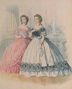 Fashion plate in La Mode Illustree, 1861, France.