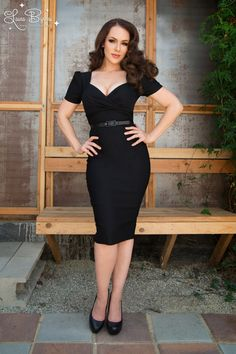 Pinup Couture Erin Wiggle Dress in Short Sleeves in Black, another idea for cat woman