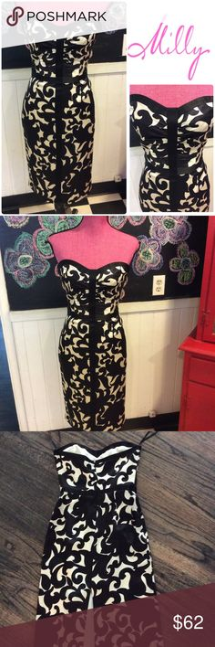 "👗❤️️ MILLY of new York sz2 blk&wht party DRESS 🙀so cute worn once size 2 sexy MILLY strapless dress.  Chest is 30"" waist is 24"" hips are 36"" DRESS is fully lined and ready to be shown off.  👗❤️️worn once. Milly of New York Dresses"