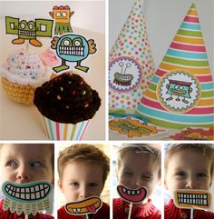 @Joann Tamayo  free moster bash printables kit Monster Cupcakes Toppers, Monster Party Hats & Monster Mouth Masks