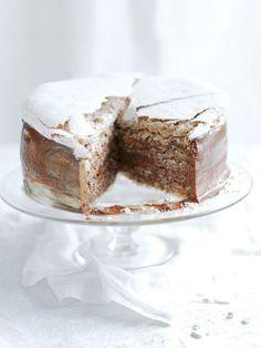 hazelnut mocha mousse cake from donna hay Beaux Desserts, Just Desserts, Delicious Desserts, Baking Recipes, Cake Recipes, Dessert Recipes, Cupcakes, Cupcake Cakes, Donna Hay Recipes