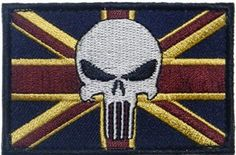 """Velcro Embroidered Punisher British UK Flag Patch By Patch Squad - High Quality Embroidered Patch - Velcro Hook Backing - Length 3"""" x Height 2"""" - Multi Color"""