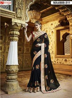 Women's Beautiful Black Color  Silk And Georgette Saree With Blouse  #Sarees #Fashion #Looking #Popular #Offers #Deals #Looking #fashionable #Zinnga #Zinngafashion #Trend  #Trending #Deal #Beautiful #Nice #Look