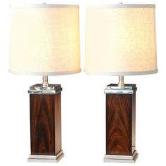 Pair of Vintage Chrome and Rosewood Square Lamps Attributed to Pierre Cardin | From a unique collection of antique and modern table lamps at https://www.1stdibs.com/furniture/lighting/table-lamps/
