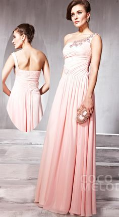 Delicate Sheath-Column One Shoulder Floor Length Chiffon Evening Dress with Draped and Crystals COSF14038 #promdresses #cocomelody
