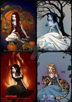 Tim Burton-Female Characters (Makeover) by NellyTheWolf on DeviantArt Tim Burton Art, Tim Burton Films, Tim Burton Characters, Female Characters, Character Art, Character Design, Sally Nightmare Before Christmas, Halloween Painting, Architecture Tattoo