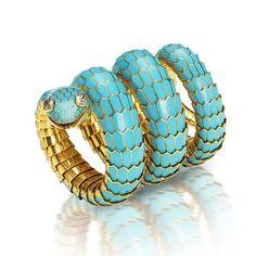 Bulgari snake bracelet. Lots of coils, scaled with turquoise enamel.