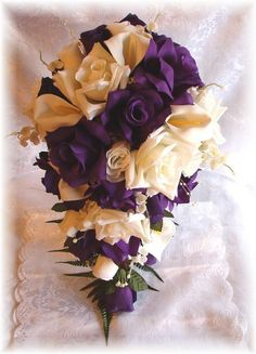 Purple Rose Calla Lilly Wedding Bouquet (Source: i.ebayimg.com)