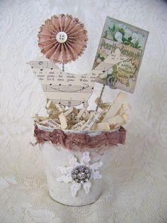 Handmade  Bird Flower Pot Vintage Peat Pot  Shower Centerpiece  Spring…