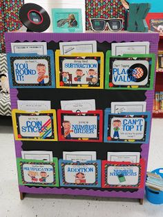 put laminated folders with center activities on the back of a bookshelf. Great way to not waste any space in the classroom!