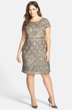 Shop 1920s Plus Size Dresses: Adrianna Papell Beaded Sheath Dress (Plus Size), Art Deco Shift Dress, Flapper Dress $289.00