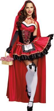 Indulge your fairytale fantasies when you wear this sassy costume to the party! Red and black dress with gold sequin trims and lace-up bodice has a white ruffle at the neckline and comes with a full-l