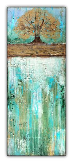 "Summers Roots - Mixed Media Art About the surface: It is a 100% cotton wrapped canvas that was double primed and adhered with an acid-free adhesive. Each panel is approximately 1.5"" thick. About the p"