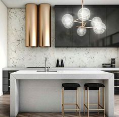 Mixed textures kitchen. Stone, marble, metal, high gloss kitchen.