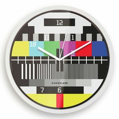 Test Screen Clock by Kikkerland. The Test Screen Clock has a retro test screen graphic from back in the day. Bright Walls, Wall Clock Online, Clock Wall, Cool Clocks, Unusual Clocks, Jack Threads, Test Card, Look Vintage, Deco Design