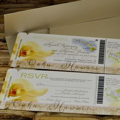 Boarding Pass Invitation or Save the Date  (Araceli Hawaii Orchid Design) -