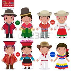 Illustration about Kids in traditional costume-Bolivia-Ecuador-Peru-Venezuela. Illustration of costume, cartoon, bolivian - 65814775 Bolivia, Clipart, Costumes Around The World, World Thinking Day, Hispanic Heritage, Equador, Art Plastique, Paper Dolls, South America