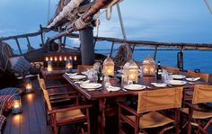 Originally built for the transport of goods, the 80-foot Tusitiri is an African dhow, or lateen-rigged ship, which anchors at Lamu Island, Kenya, and can be chartered. August 2004