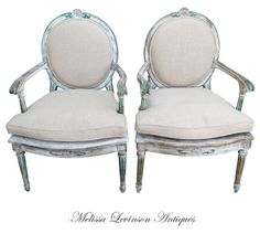 Melissa Levinson Antiques. Italian Painted Armchairs, Rachel Ashwell, White Decorating, Shabby Chic Decorating, Distressed Furniture, Cottag...