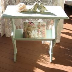 Shabby Chic Aqua Blue Table, Magazine Rack   Cottage Chic, Chippy  Distressed Robins Egg
