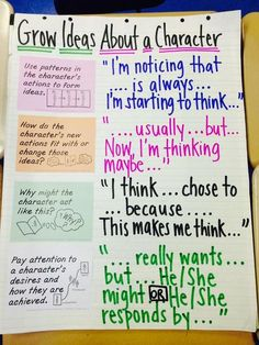 The Creative Apple Teaching Resources - : Anchor Chart - Grow Ideas About A Character TCRWP (picture only) Narrative Writing, Writing Skills, Essay Writer, Informational Writing, Writing Process, Reading Skills, Writing Tips, Nonfiction, Readers Workshop