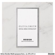 Shop Silver Border Multi-purpose Social Media Vertical Business Card created by AffordPrint. Minimalist Business Cards, Modern Business Cards, Modern Minimalist, Small Office Decor, Vertical Business Cards, Design Agency, Paper Texture, Purpose, Social Media