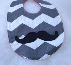 Mustache Baby Bib on Gray and White Chevron by ModernMeetsClassic, $8.00