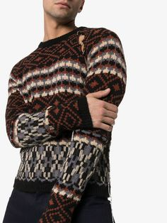 Shop Raf Simons Fairisle cutout mohair wool blend jumper from our Knitted Sweaters collection. Jumper, Men Sweater, Raf Simons, Size Clothing, Wool Blend, Knitwear, Knitting, Long Sleeve, Sweaters