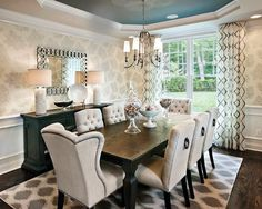 Wow-Fantastic-Dining-Room-Design-Using-Charming-Tall-Dining-Tables-and-Chairs-Combined-WIth-Flashy-Pendant-Lamp-Stunning-Carpet-and-Pretty-Wallpaper-With-Wainscoting