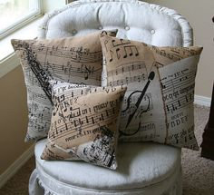 Saxophone Violin Music Room Pillow Covers Music Room Home Decor Entertainment envelope closure