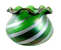 Große Vase mit Silbergelbstreifen, Josephinenhütte, Entw Julius Camillo de Maess