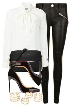A fashion look from March 2016 featuring pussy bow blouses, Gestuz and black patent leather shoes. Browse and shop related looks. Classy Outfits, Chic Outfits, Fashion Outfits, Womens Fashion, Michael Kors Fashion, Handbags Michael Kors, Mk Handbags, Looks Chic, Looks Style