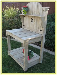 This potting bench is bursting with charm and personality! Open the gate to…