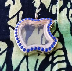 Floating Apple Pendant Locket - Royal Blue Diamante Crystal Around outside - 30 mm - Gold Tone by GailsGiftHut on Etsy