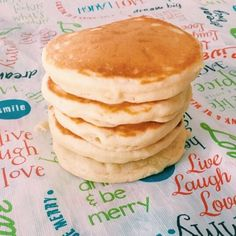 This pancake recipe makes light and fluffy and just a touch sweet pancakes. It's made from baking basics, so you probably have everything on hand. Easy pancake recipe.