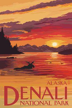 Denali National Park, Alaska - Moose at Sunset - Lantern Press Artwork Giclee Art Print, Gallery Framed, Espresso Wood), Multi Retro Poster, Vintage Films, Vintage Travel Posters, Vintage Ski, Photo Vintage, Sunset Art, Photos Voyages, Us National Parks, Parcs
