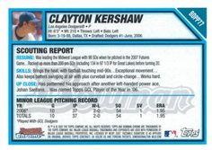 2007 Bowman Draft Picks & Prospects - Chrome Futures Game Prospects #BDPP77 Clayton Kershaw Back