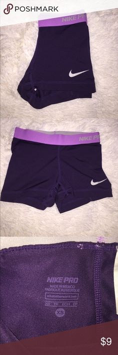 Purple Nike Pros Overall in good shape! Only wear is at the top band, outside seam is broken in some places but doesn't have any effect on the quality and is intact. Nike Shorts