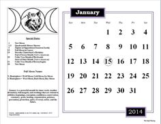 January 2014 #calendar with new and full #moon dates, other #pagan dates to remember. #BOS #Book of #Shadows #Wicca