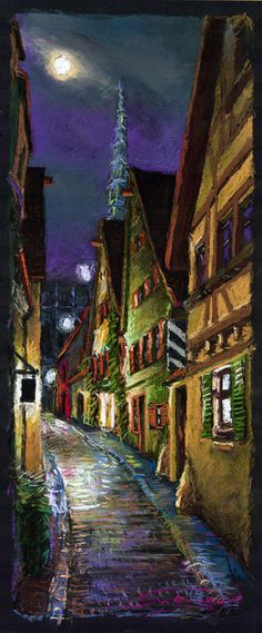 Germany Ulm Old Street Night Moon Pastel  - Germany Ulm Old Street Night Moon Fine Art Print