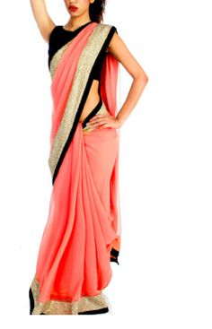 Peach and black saree Indian Attire, Indian Wear, Indian Style, Indian Dresses, Indian Outfits, Indian Clothes, Peach Saree, Desi Wear, Casual Saree