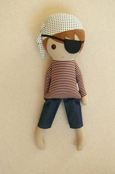 Fabric Doll Rag Doll Brown Haired Pirate Doll in Striped Shirt, Eyepatch, and Cropped Denim Pants